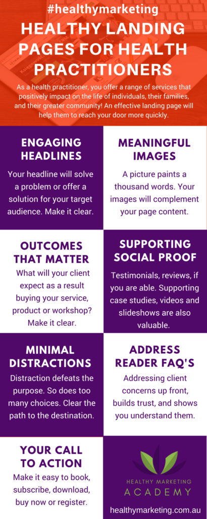 Healthy landing page infographic